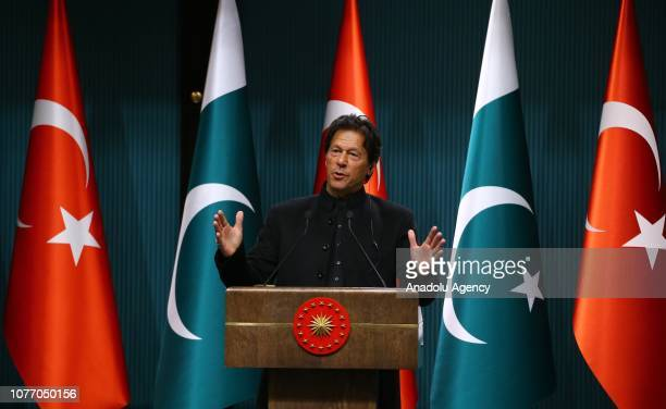 Pakistani Prime Minister Imran Khan makes a speech during a joint press conference with Turkish President Recep Tayyip Erdogan at the Presidential...