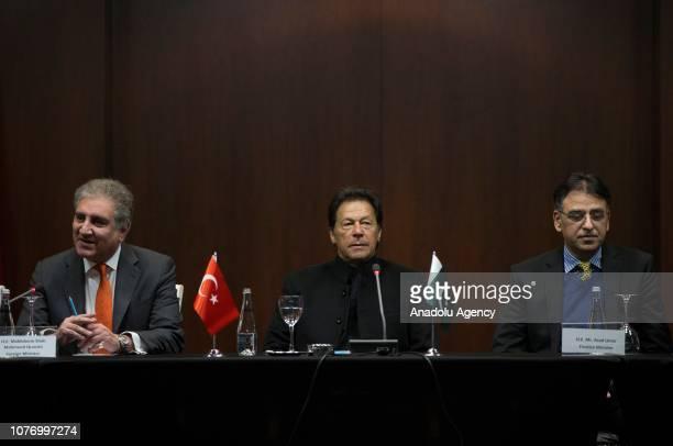 Pakistani Prime Minister Imran Khan Pakistani Foreign Minister Shah Mehmood Qureshi and Pakistani Finance Minister Asad Umar attend a press...