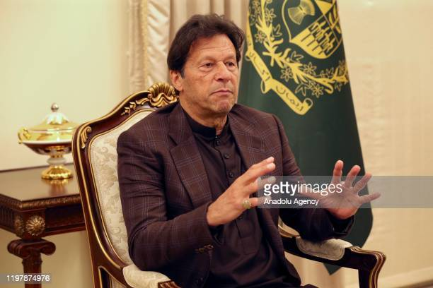 Pakistani Prime Minister Imran Khan speaks during an exclusive interview with Anadolu Agency on his government's actions for the past 18 months,...