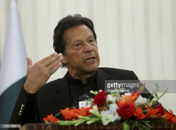 Pakistani Prime Minister Imran Khan speaks during joint press conference with Turkish President Recep Tayyip Erdogan following their meeting at the...