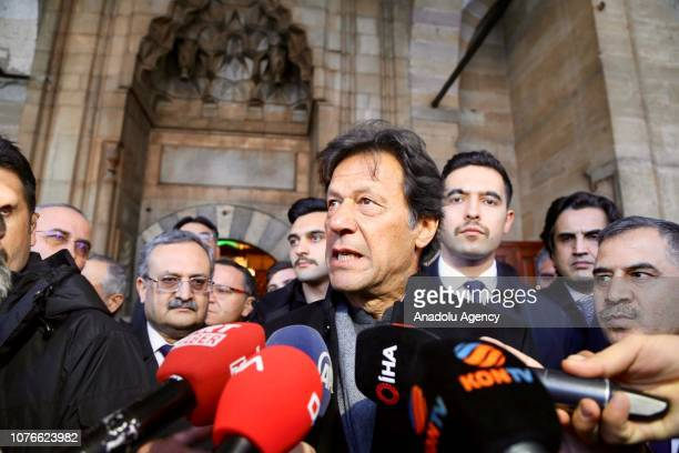 Pakistani Prime Minister Imran Khan speaks to the media during his visit to Mevlana Museum in Konya, Turkey on January 03, 2019.