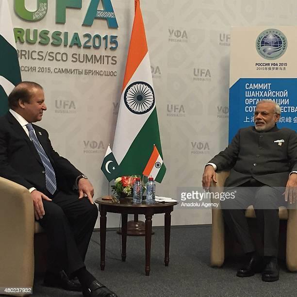 Pakistani Prime Minister Muhammad Nawaz Sharif and India's Prime Minister Narendra Modi meet during Shanghai Cooperation Organization summit in Ufa...