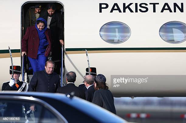Pakistani Prime Minister Nawaz Sharif arrives at Schiphol airport in Amsterdam on March 23, 2014 ahead of the March 24-25 Nuclear Security Summit in...