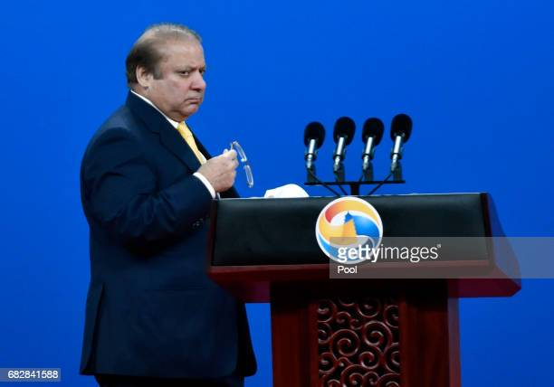 Pakistani Prime Minister Nawaz Sharif delivers a speech on Plenary Session of HighLevel Dialogue at the Belt and Road Forum on May 14 2017 in Beijing...