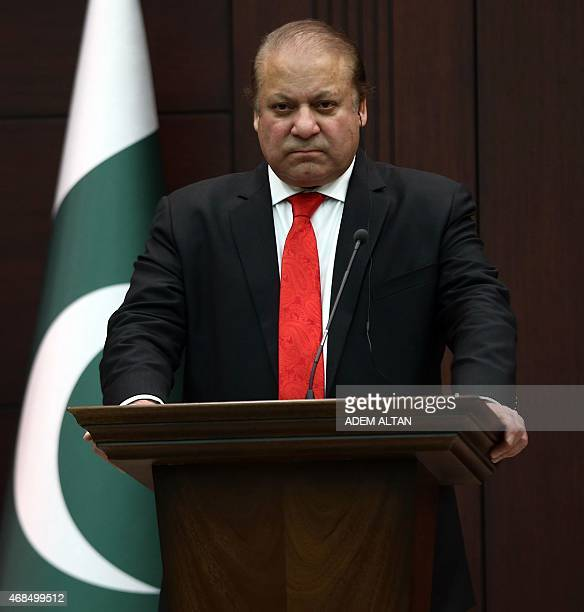 Pakistani Prime Minister Nawaz Sharif holds a joint press conference with his Turkish Prime Minister at the Prime Ministry office at Cankaya Palace...