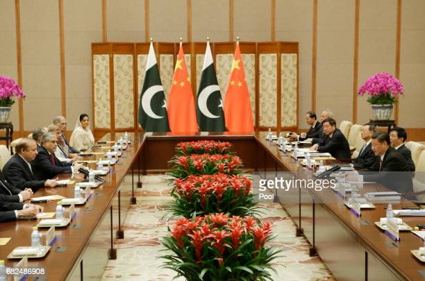 Pakistani Prime Minister Nawaz Sharif meets Chinese President Xi Jinping ahead of the Belt and Road Forum in Beijing China May 13 2017