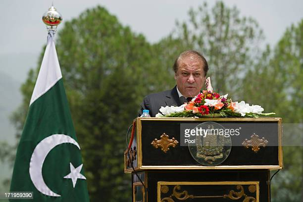 Pakistani Prime Minister Nawaz Sharif speaks during a press conference held at the Prime Minister's house with visiting British Prime Minister David...