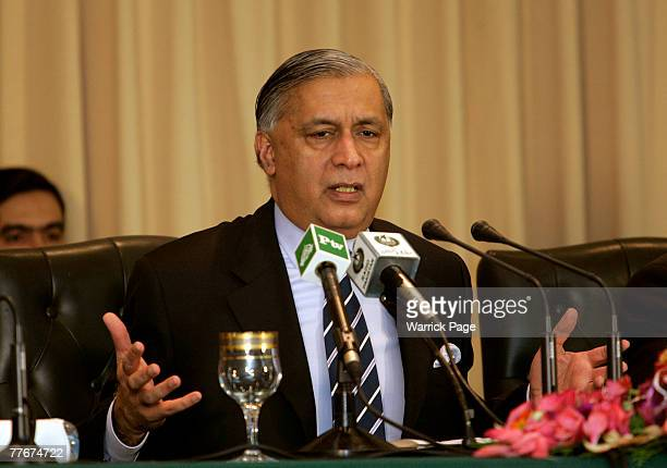 Pakistani Prime Minister Shaukat Aziz talks to local and international media at a press conference at the Prime Minister's House on November 04 2007...