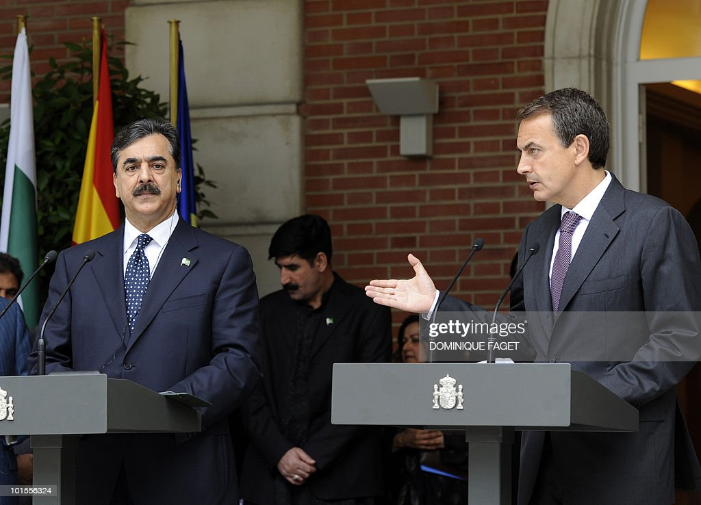 Pakistani Prime Minister Yousuf Raza Gilani (L) and Spain's Prime Minister Jose Luis Rodriguez Zapatero (R) give a press conference after their meeting at the Moncloa Palace in Madrid on June 02, 2010. Pakistani Prime Minister Yousuf Raza Gilani and his delegation are on a visit to Spain organized during the Spanish rotating presidency of the EU.