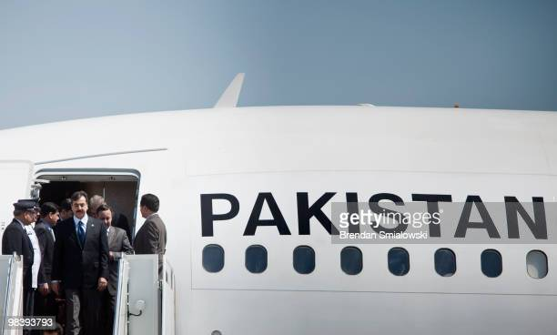 Pakistani Prime Minister Yousuf Raza Gilani arrives with his delegation April 11, 2010 at Andrews Air Force Base in Maryland. Leaders from around the...
