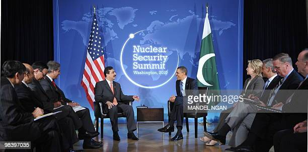 Pakistani Prime Minister Yousuf Raza Gilani speaks during a bilateral meeting with US President Barack Obama at Blair House on the sidelines of the...