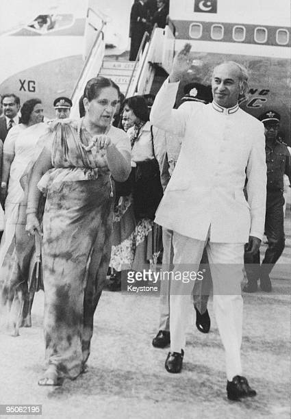 Pakistani Prime Minister Zulfikar Ali Bhutto arrives at Bandaranaike International Airport at the start of an official visit to Sri Lanka 20th...