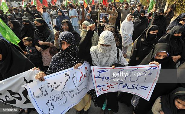 Pakistani protesters march during a demonstration against the killing of Shiite Muslims in Lahore on February 6 2009 Pakistani police said they had...