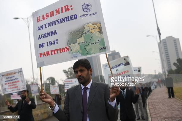 Pakistani protesters march to mark Kashmir Solidarity Day in Islamabad on February 5 2017 Kashmir Solidarity Day is observed in Pakistan on February...