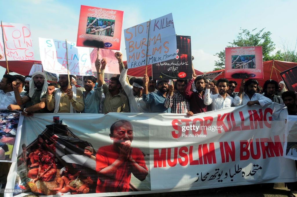 Pakistani protesters rally on the ongoing violence against the Rohingya Muslim minority in Myanmar, in Islamabad, Pakistan.