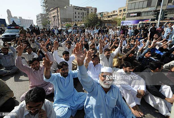 Pakistani protesters shout slogans during a protest against the killing of the Shiite Muslims in Karachi on February 6 2009 Pakistani police said...