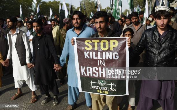 Pakistani protesters take part in a gathering to mark Kashmir Solidarity Day in Karachi on February 5 2018 Kashmir Solidarity Day is observed in...