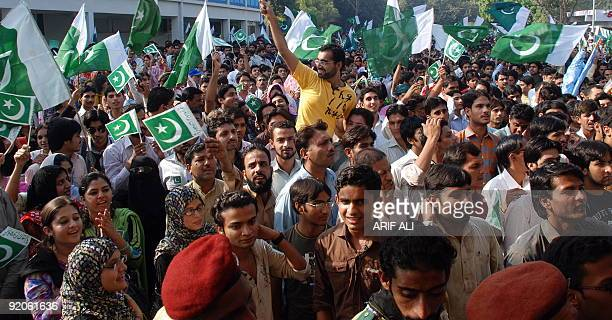 Pakistani Punjab University students protest terrorism at a rally in Lahore on October 20 2009 Twin suicide blasts tore through a university campus...