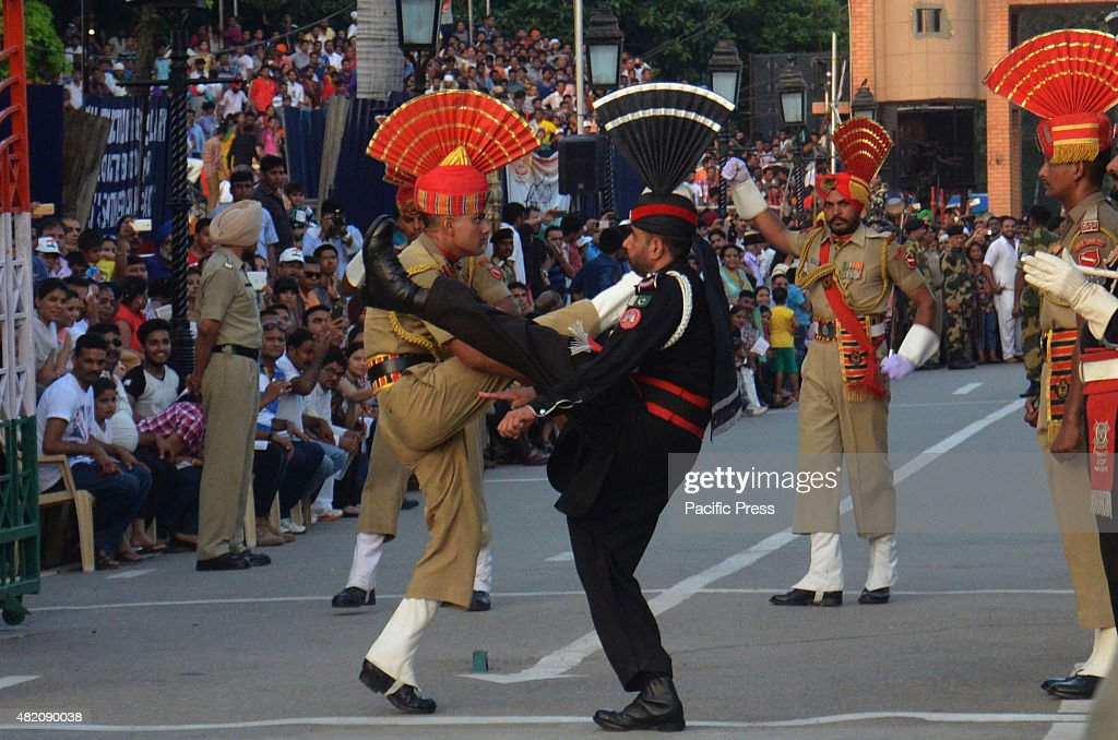 Pakistani rangers and Indian Border Security Force during a daily parade at the PakistanIndia joint checkpost at Wagah border India and Pakistan...