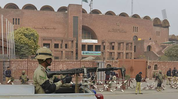 Pakistani Rangers keep watch during the oneday match between Pakistan A and the visiting Kenyan team outside the Gaddafi Cricket stadium in Lahore on.
