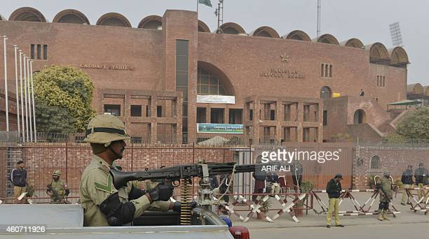 Pakistani Rangers keep watch during the oneday match between Pakistan A and the visiting Kenyan team outside the Gaddafi Cricket stadium in Lahore on...
