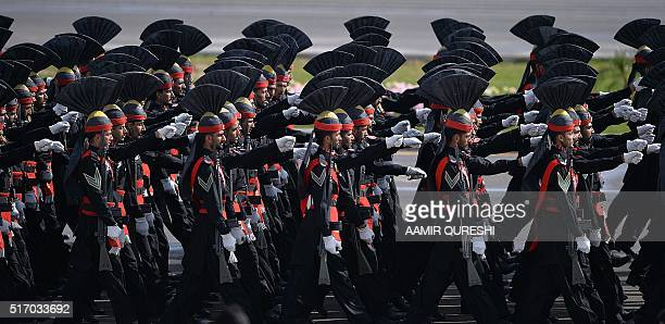 Pakistani Rangers march during the Pakistan Day military parade in Islamabad on March 23 2016 Pakistan National Day commemorates the passing of the...