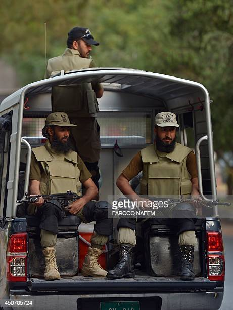 Pakistani Rangers patrol a street in Islamabad on June 16 2014 The Pakistani Taliban on June 16 warned foreign firms to leave the country and vowed...