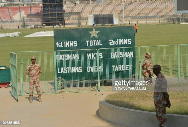 Pakistani rangers stands guard outside the National Stadium in Karachi on February 11 during the full dress rehearsal of security arrangements for...