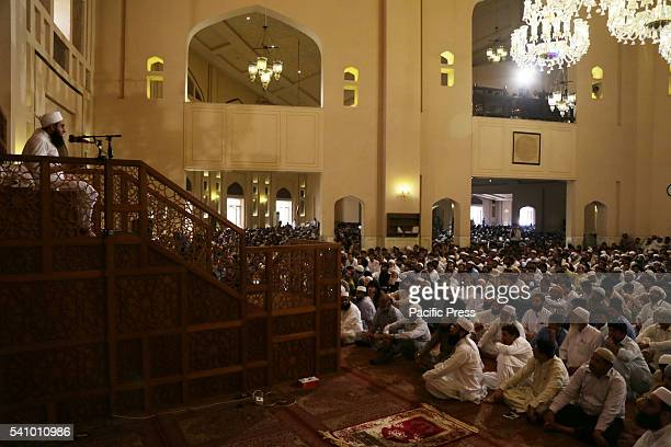 Pakistani religious leader Molana Tariq Jameel addressing during Second NamazeJuma of Holy Fasting Month of RamzanulMubarak at 7th largest Bahria...