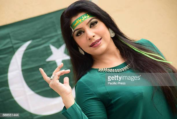 Pakistani renowned actress Megha celebrating the upcoming Independence day in Lahore on August 112016 69th Independence Day preparations are in full...