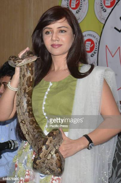 Pakistani renowned famous female singer Rabi Peerzada addresses with her pythons snake to media persons for her upcoming video album Rashak e Qamar...