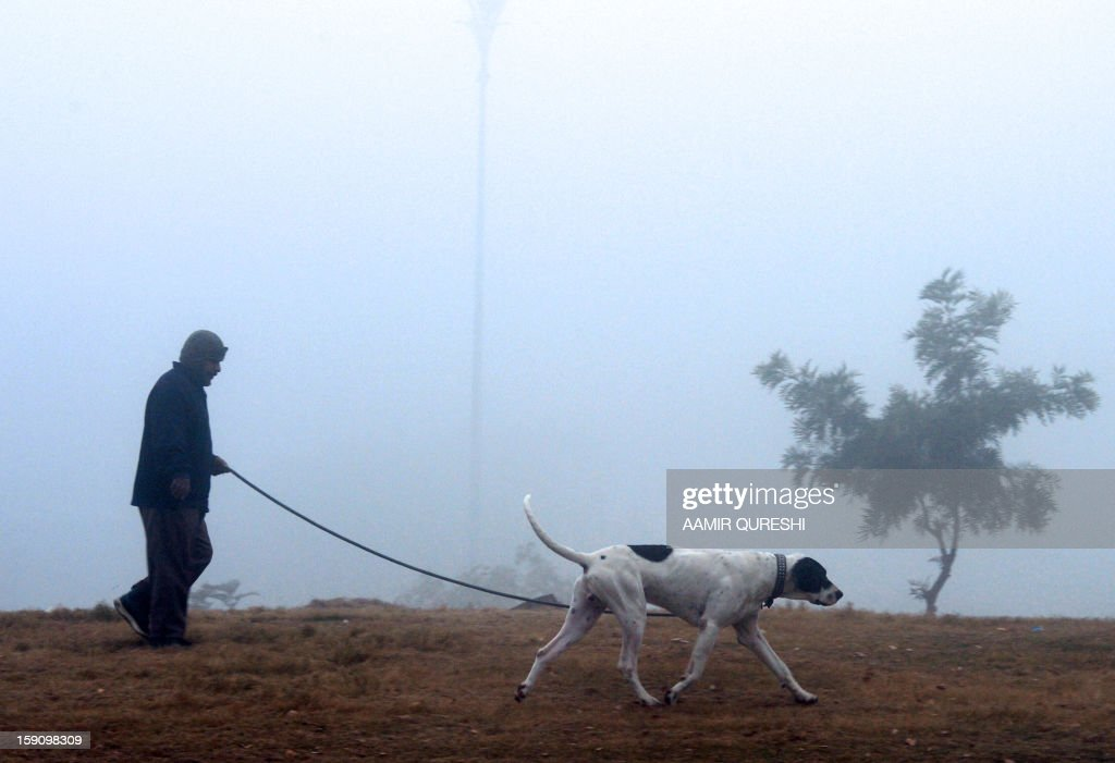 A Pakistani resident walks with his dog during a cold and foggy morning in Islamabad on January 8, 2013. Ongoing foggy weather in Punjab and other parts of the country has badly affected flight and rail schedules. AFP PHOTO/Aamir QURESHI