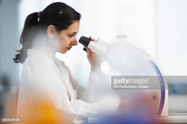 Pakistani scientist using microscope in lab