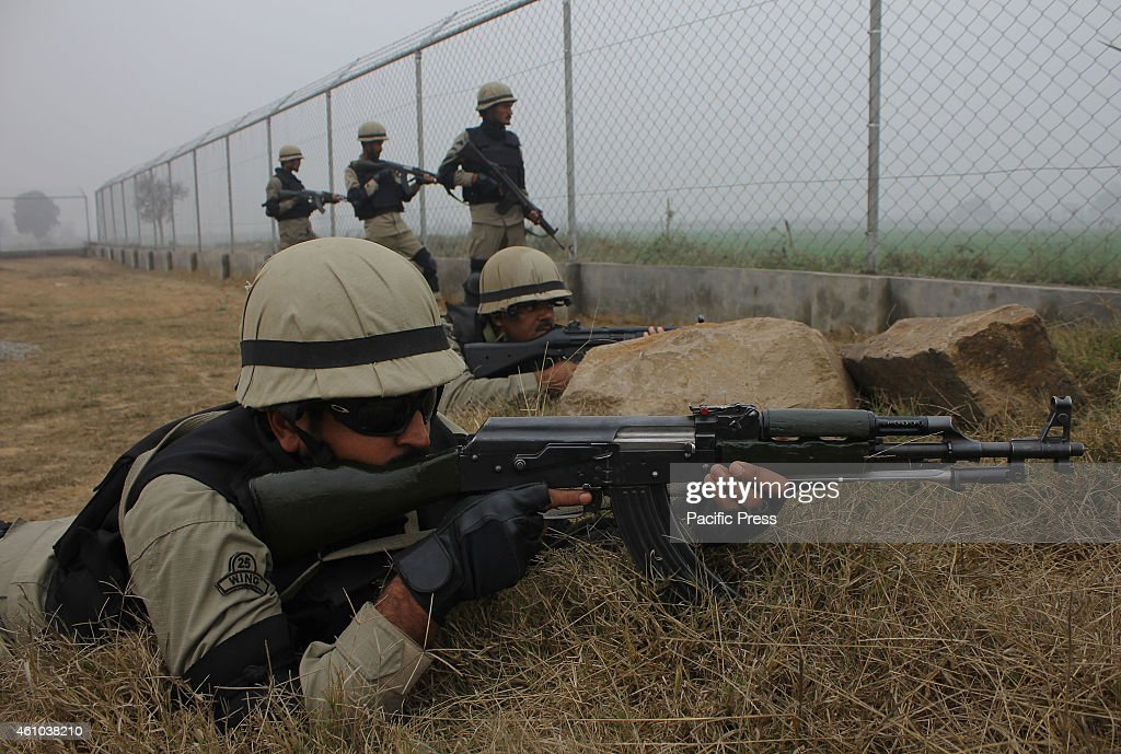 Pakistani Security Force patrol along the PakistanIndia border area of Wagah The Indian Border Security Force allegedly again resorted to unprovoked..