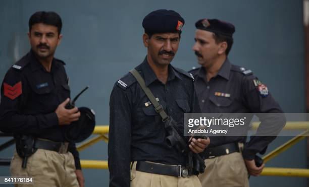 Pakistani security forces are seen outside the Adiyala Jail in Rawalpindi Pakistan on August 31 where an antiterrorism court has declared former...