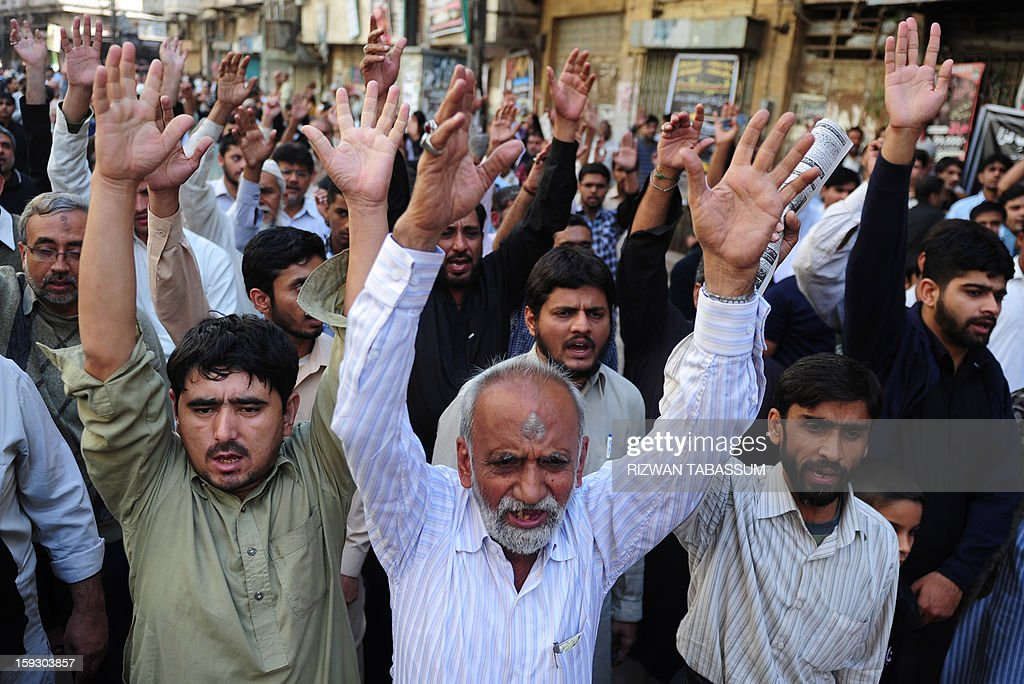 Pakistani Shiite Muslims chant slogans during a protest rally in Karachi on January 11, 2013, against the bomb attacks in Quetta. Extremist bomb attacks killed 125 people in one of Pakistan's deadliest days for years, raising concerns about rising violence in the nuclear-armed country ahead of general elections. AFP PHOTO/ Rizwan TABASSUM