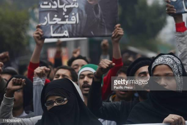 Pakistani Shiite Muslims of Tehreek Hemayat Mazlomeen Jehan-e-Pakistan rally in protest against the killing of Qassem Soleimani as they shout slogans...