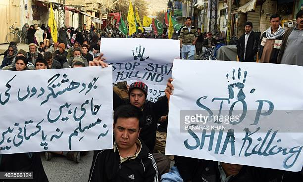 Pakistani Shiite Muslims protest against against a suicide bombing at a Shiite mosque in Quetta on January 31, 2015. Thousands of Shiite Muslims...