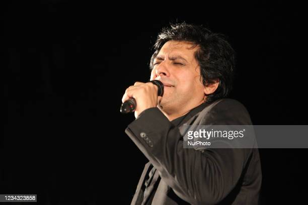 Pakistani singer Jawad Ahmad performs during the Pakistan Mela in Markham, Ontario, Canada, on August 18, 2013.