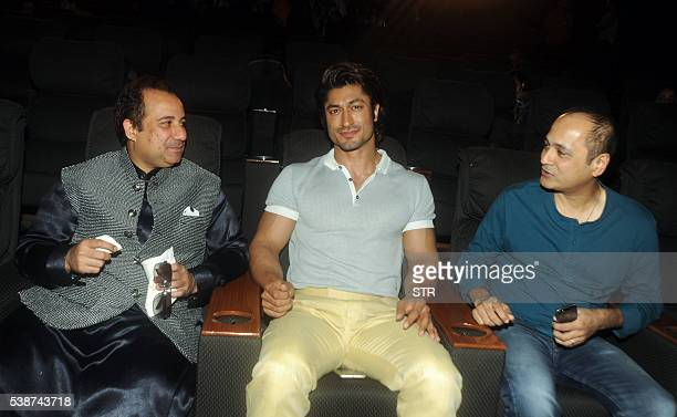 Pakistani singer Rahat Fateh Ali Khan Indian Bollywood actor Vidyut Jammwal and film director Vipul Shah attend the song launch of 'Dillagi' directed...