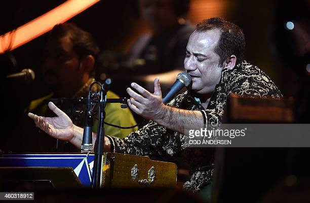 Pakistani singer Ustad Rahat Fateh Ali Khan performs at the Nobel Peace Prize Concert at the Oslo spectrum on December 11 2014 The 17yearold...
