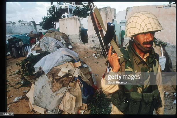 Pakistani soldier patrols the area December 6 1993 in Mogadishu Somalia US gunships attacked the compound of warlord Mohammad Aidid in response to...