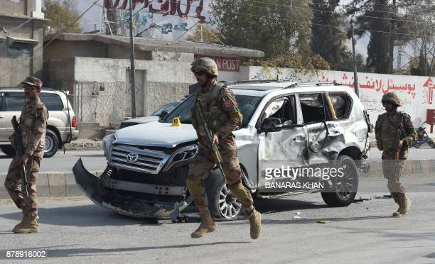 Pakistani soldiers arrive at the site of a suicide bombing in Quetta on November 25 2017 At least four people died and 19 others were injured in a...