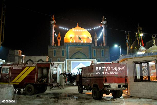 Pakistani soldiers cordon off the shrine of 13th century Muslim Sufi Saint Lal Shahbaz Qalandar after a bomb blew up in the town of Sehwan in Sindh...