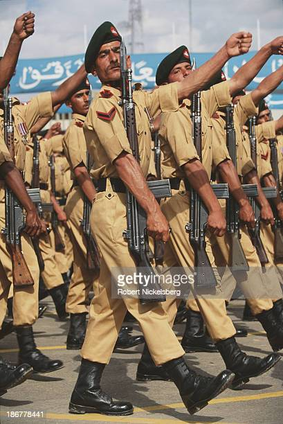 Pakistani soldiers march during the Pakistan Day Parade Islamabad Pakistan 1989