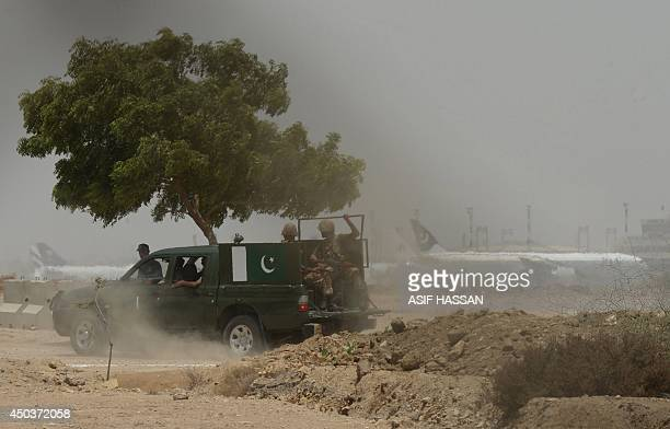 Pakistani soldiers patrol following a firing incident at the Jinnah International Airport in Karachi on June 10 2014 The second attack on Pakistan's...