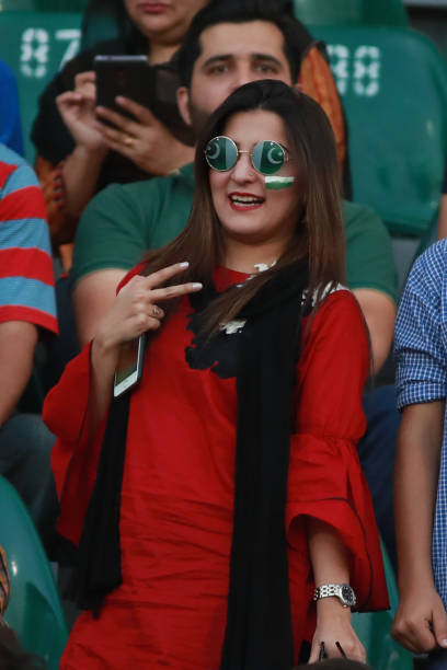 Pakistani spectator cheering the players as they watching the final match of independence cup 2017 Twenty20 international match played between the...