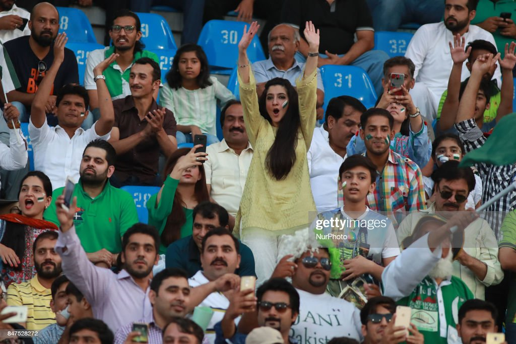Pakistani spectators cheering the players as they watching the final match of independence cup 2017 Twenty20 international match played between the...