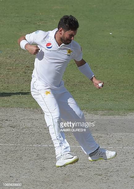 Pakistani spinner Yasir Shah celebrates after taking the wicket of New Zealand batsman Ish Sodhi during the fourth day of the second Test cricket...