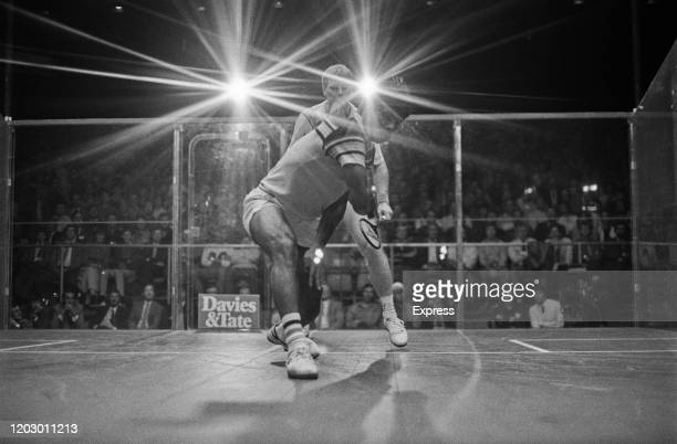 Pakistani squash player Jahangir Khan in action during a match UK 24th April 1985